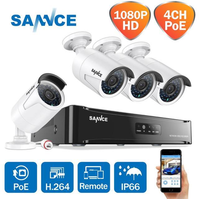 Kit de NVR Poe de red SANNCE 4CH 1080 P, sistema de seguridad CCTV, cámara IP de 2.0MP, sistema de cámara de vigilancia de visión nocturna infrarroja para exteriores