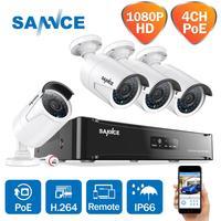 Sannce 4ch 1080 p 네트워크 poe nvr 키트 cctv 보안 시스템 2.0mp ip 카메라 야외 ir 야간 감시 감시 카메라 시스템