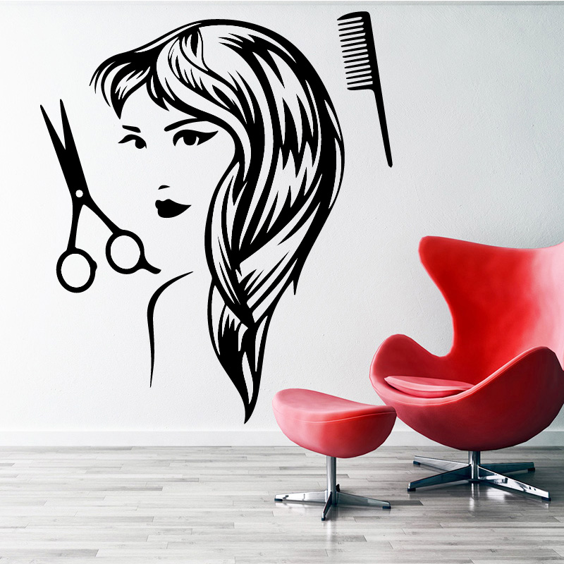 g243 Vinyl Wall Decal Bearded Man Hairdresser Haircut Barber Salon Stickers
