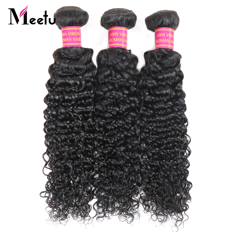 Meetu Indian Kinky Curly Hair Bundles 100% Human Hair Weave 3 Bundles Deal 8-28 inch Non Remy Hair Extensions Free Shipping