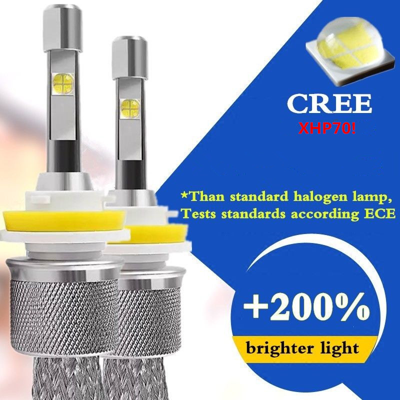 2*OEM Error Free Car LED bulbs 110W CREE XHP70 Chips LED fog Headlight White 6000K Lamps H1 H4 H7 H11 9005 Auto Front HeadLight