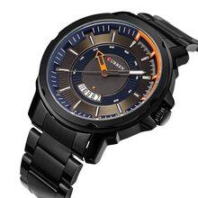 CURREN 2018 Quartz Watches Black Blue Dial Calendar Display Black Stainless Steel Waterproof Men's Military Sport Wrist Watches цена