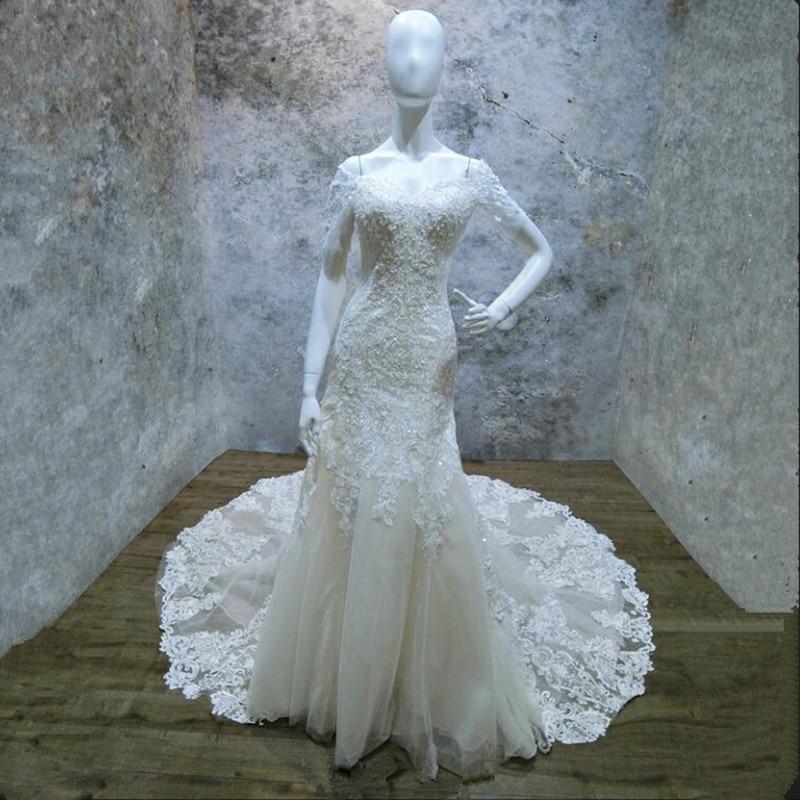 Vinca sunny Vintage Lace Mermaid Wedding Dresses With Sleeves 2019 Robe De Mariee Off The Shoulder