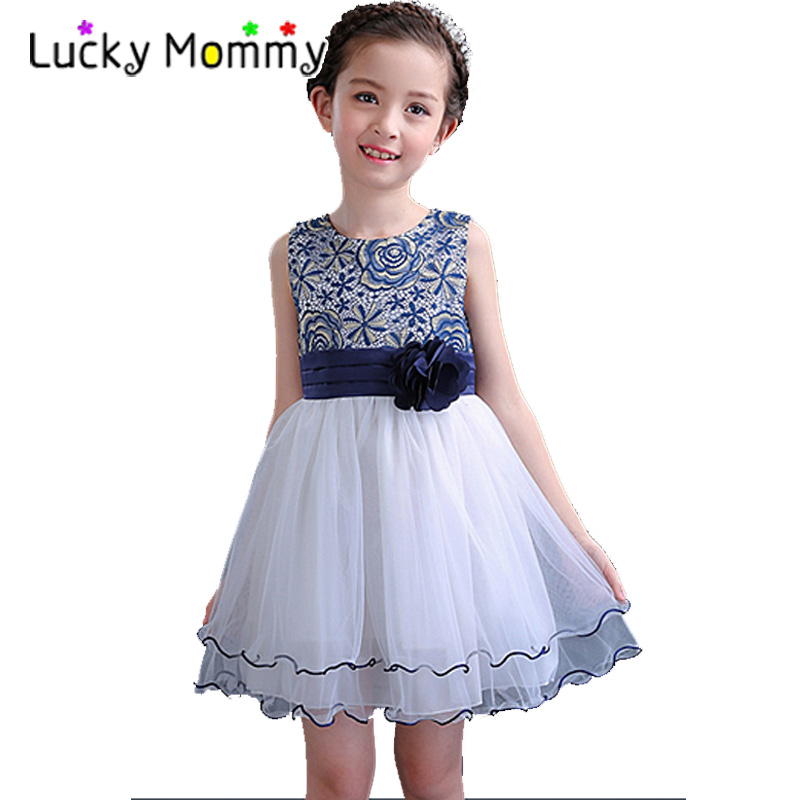 Princess Lace Flower Girl Party Dress Summer 2017 Tutu Wedding Birthday Dresses Kids Clothes for Children Baby Costume Teenager retail kids girls dresses summer wedding party princess flower girl dresses birthday tutu dress children clothing e9150