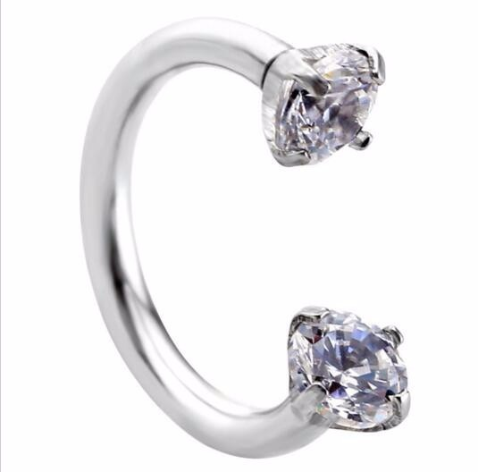 1 Piece 16G 1.2mm Stainless Steel Round Eyebrow Earring Cubic Zircon Internally Threaded Nose Ring Body Piercing Jewelry 2