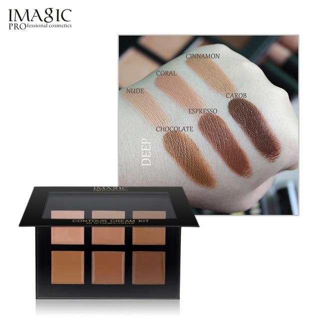 Pequeño puff regalo IMAGIC poro corrector CREMA CONTORNO paleta Kit de maquillaje Pro 6 colores corrector Primer Net 30g de maquillaje crema