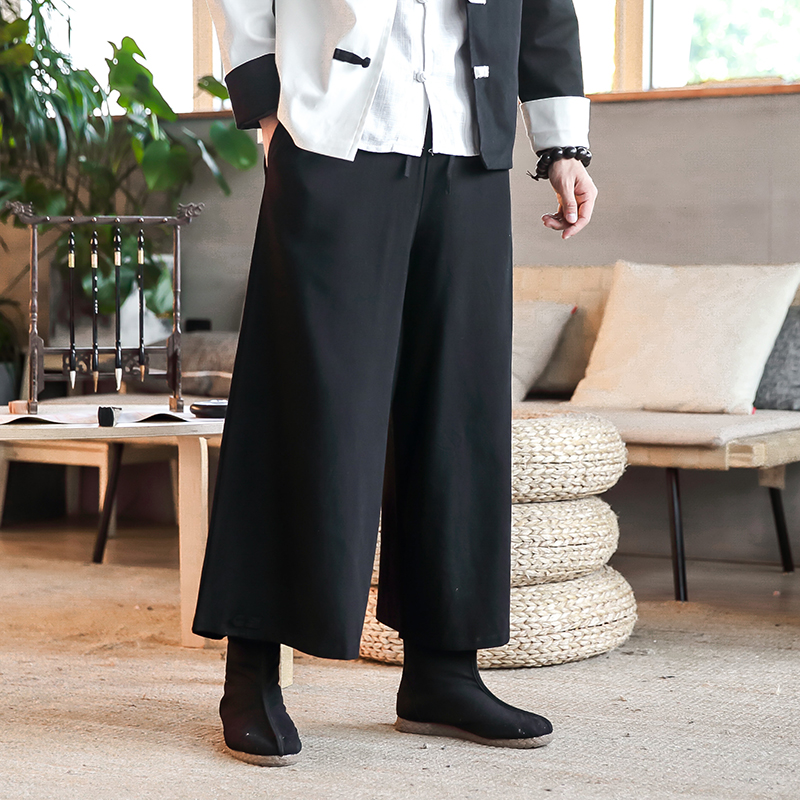 Chinese Style Wide Leg Pants Men Autumn New 2018 Casual Solid Linen Mens Trousers Plus Size Loose Pan Kou Design Pant Man 5XL M
