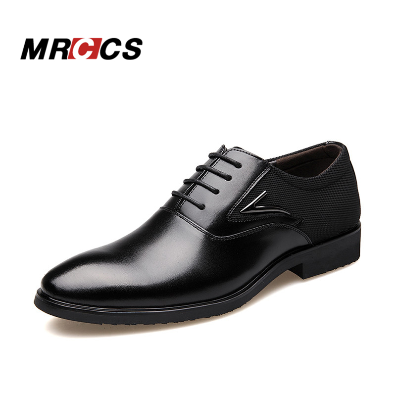 MRCCS Clearance Price Big Size 38-48 Men's Formal Oxford Dress Shoe,Elegant Pointed Toe Design,Microfiber Leather Office Wedding