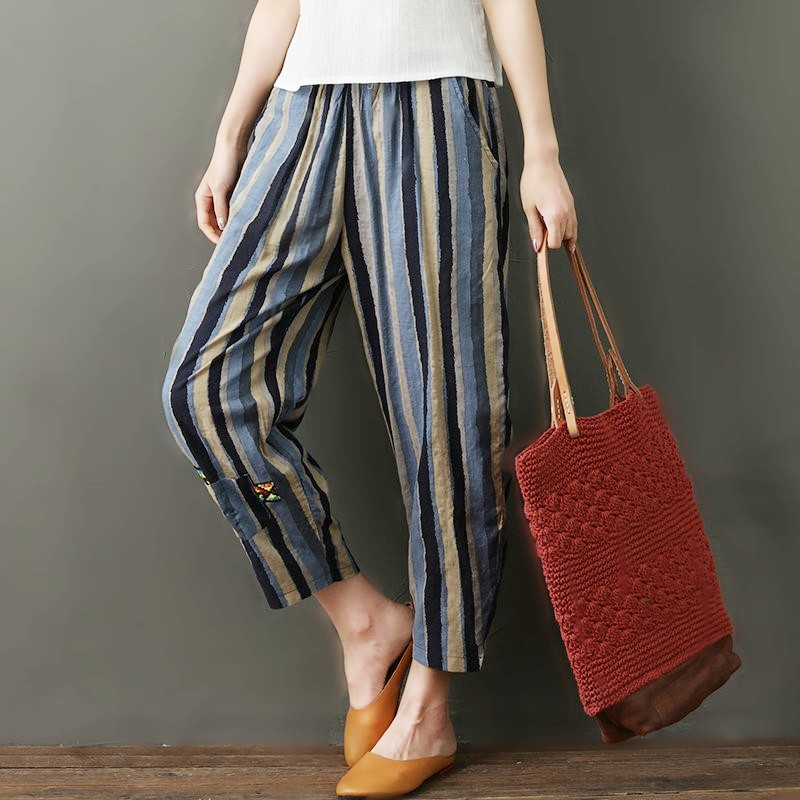 National wind striped cotton and linen nine pants women 2019 new literary large size female pants loose high waist harem pants 1