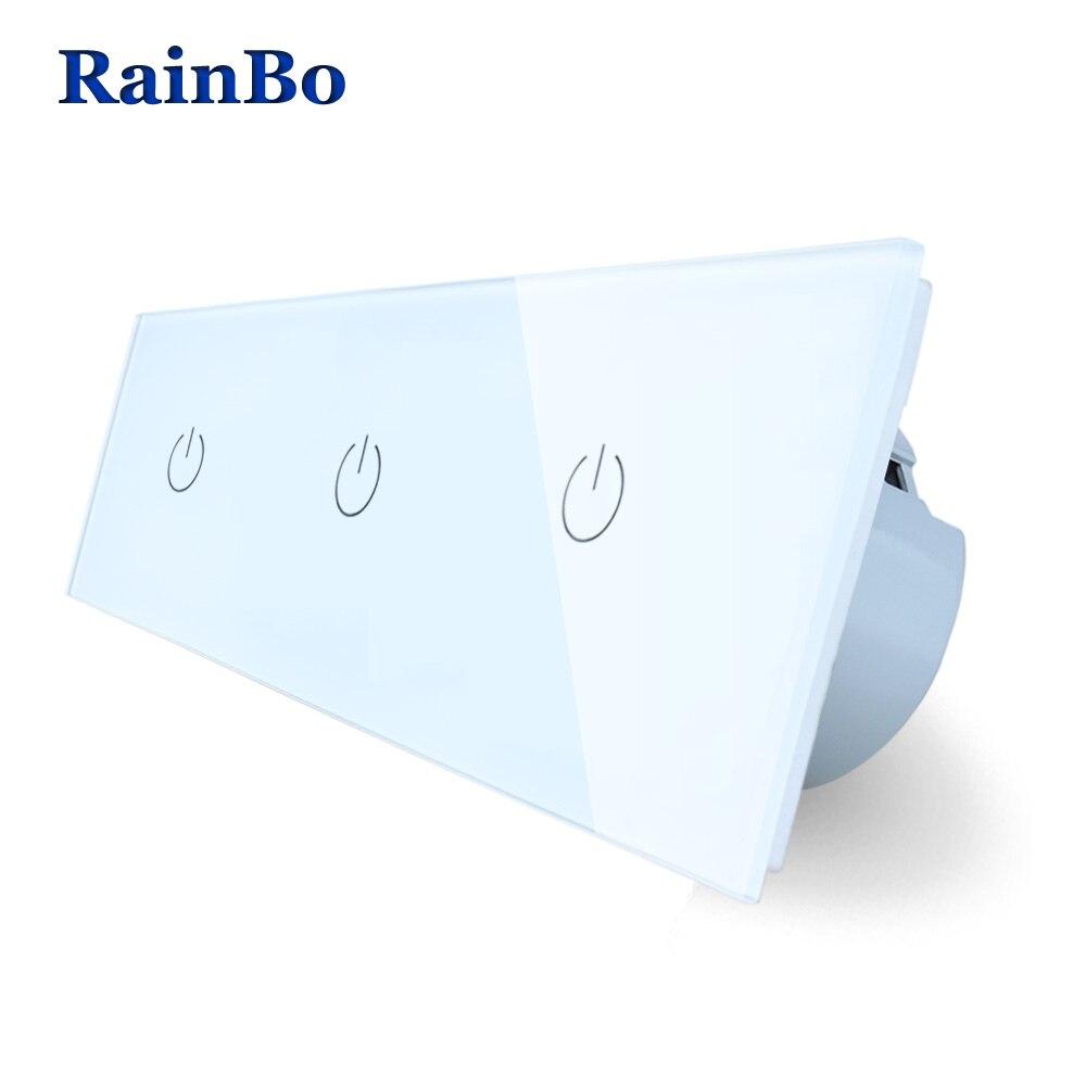 RainBo 3Frame Crystal Glass Panel Switch Wall Switch EU Touch Switch  Wall Light Switch 3Frame 1gang1way 110~250V A39111111W/B аксессуар для игровой консоли rainbo накладки на стики для геймпада зенит