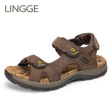 LINGGE Genuine Leather Men Sandals Summer Leisure Beach Men Shoes High Quality Leather Sandals Men #8217 s Sandals Big Size 38-45 cheap Cow Leather Basic Synthetic Classics Rubber Hook Loop Flat (≤1cm) Fits true to size take your normal size Casual 1367