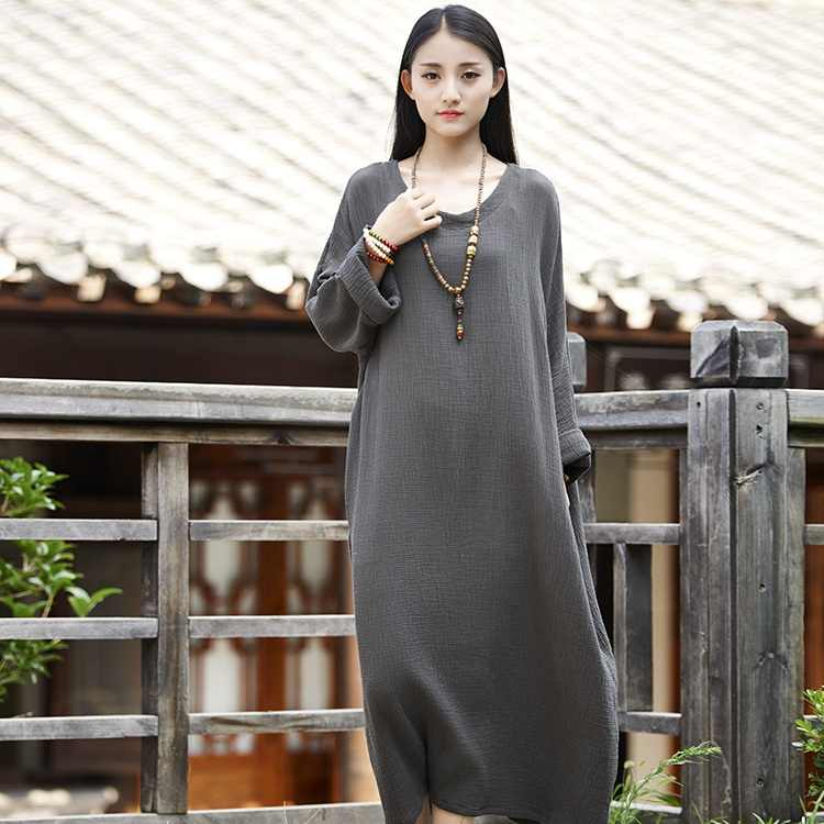 385aba7206 Plus big size Batwing Cotton Women Long Dress Oversized Zen style Solid  Robe Femme Gown Dresses Loose Casual Maxi Dress B006