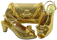 Newest Gold Italian Shoe and Bags To Match Shoes with Bag Set for Party Nigeria Shoes with Matching Bags High Quality In Women