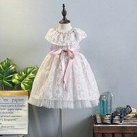 5235花プリントリボンサッシ王女赤ちゃんの女の子ドレスウェディング夏子供ドレス女の子のための卸売女の赤ちゃん服