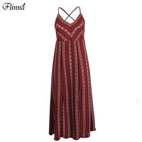 Boho African Chiffon Beachwear Long Dress V Neck Plus Size Sleeveless Maxi Dress Red Summer Party
