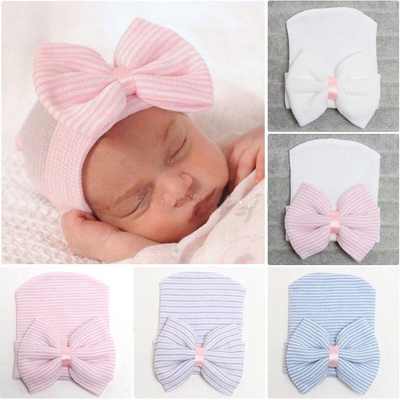 Emmababy Newborn Baby Girls Striped Headband Headwear Toddler Soft Beanie Hat With Bow