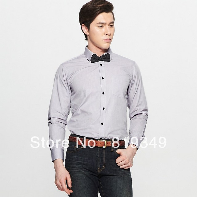 VANCL Men Easy Care Vittore Contrast Button Shirt Classic Spread Collar Full Length Sleeves Grey/Black/White FREE SHIPPING