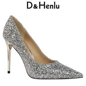 c8341e7d45c4 D Henlu Party High Heels Gold Pumps Wedding Shoe Women 2018