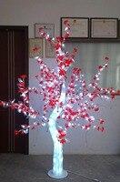 Бесплатная доставка 5ft 1.5 м LED Рождество Новый год праздник свет кристалл вишни дерево красные цветы + белый лист Home Decor