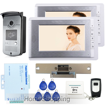 Free Shipping New Apartment 7″ Color Video Intercom Door Phone System + 2 Monitors + RFID Reader Camera + Strike Lock Wholesale