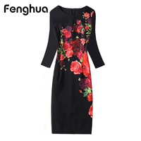 Fenghua Floral Print Dress Winter Autumn Dress Women 2017 Three Quarter Sleeve Office Pencil Bodycon Bottom