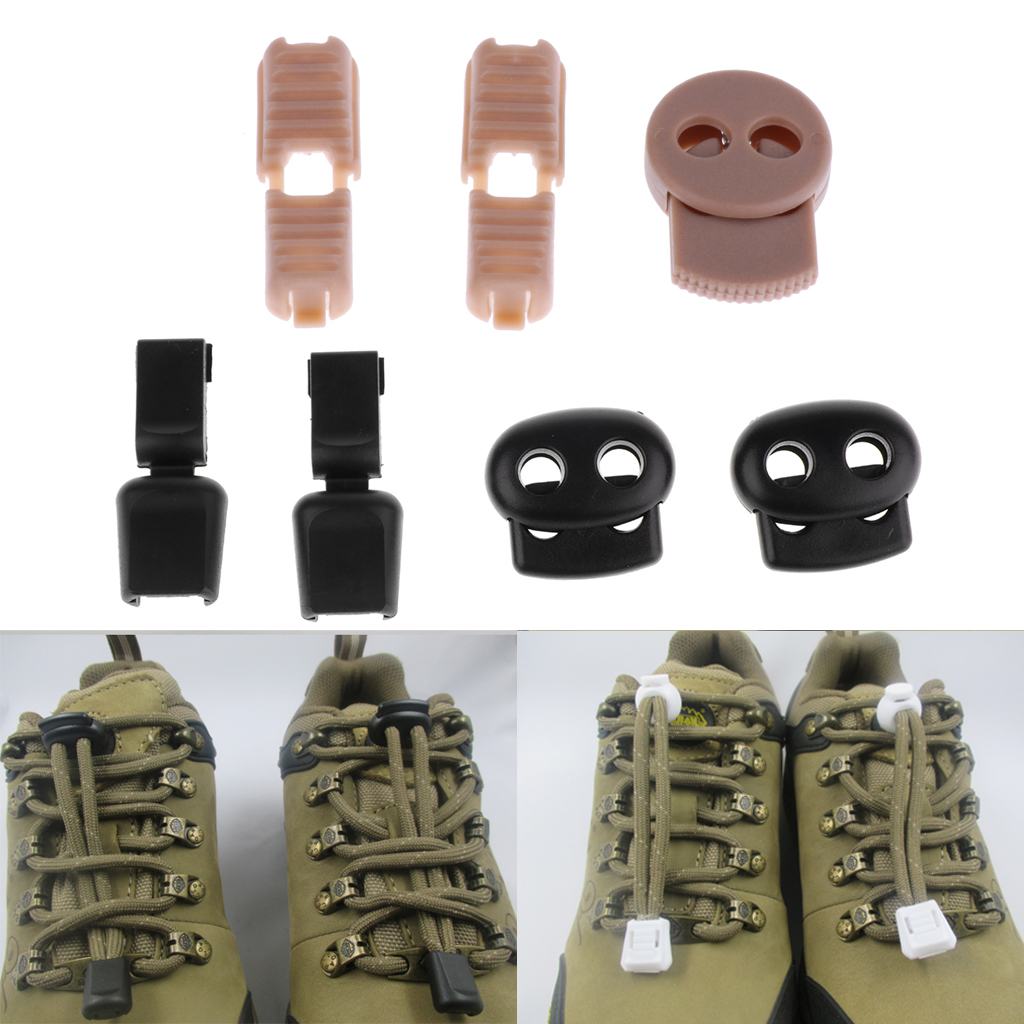 1 Pair  No Tie Shoelaces Locks Elastic Tieless Laces Cord Buckles Clip Lock For Sneakers Boots Casual And Work Shoes