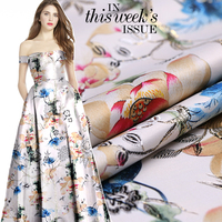 145cm wide 490g/m jacquard printing gold wire brocade fabric high fashion coat cheongsam skirt fabric