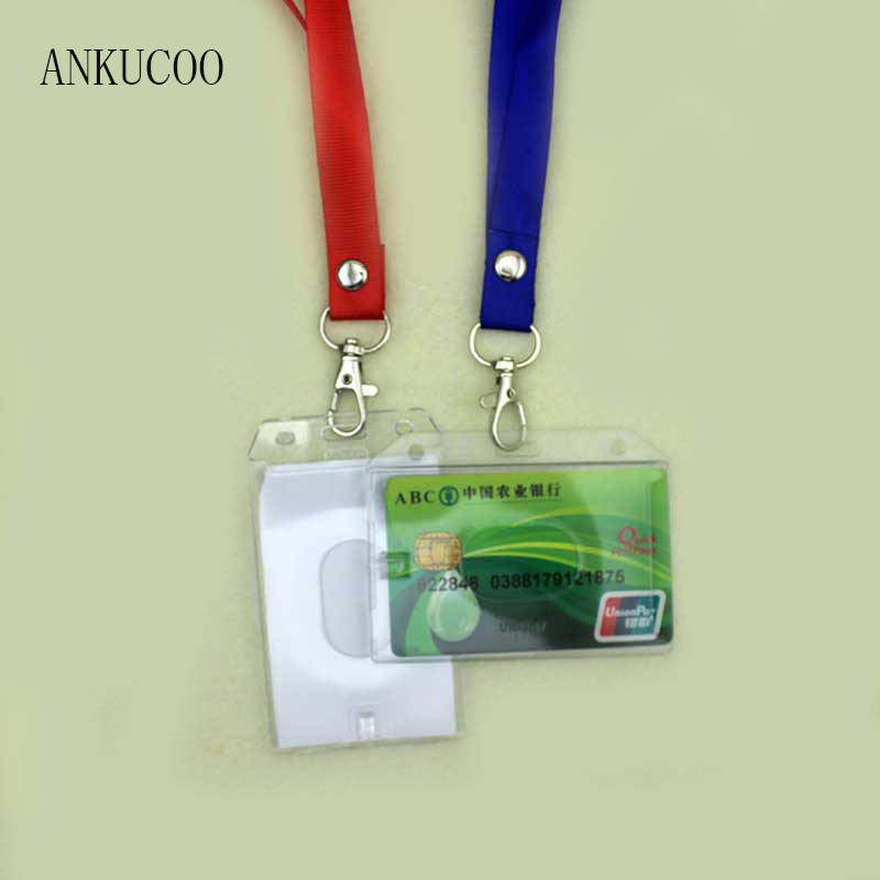 все цены на 1PCS High Definition Wholesale Name Credit Card Holders PU Bank Card Neck Strap Card Bus ID Holders Identity Work Permit онлайн