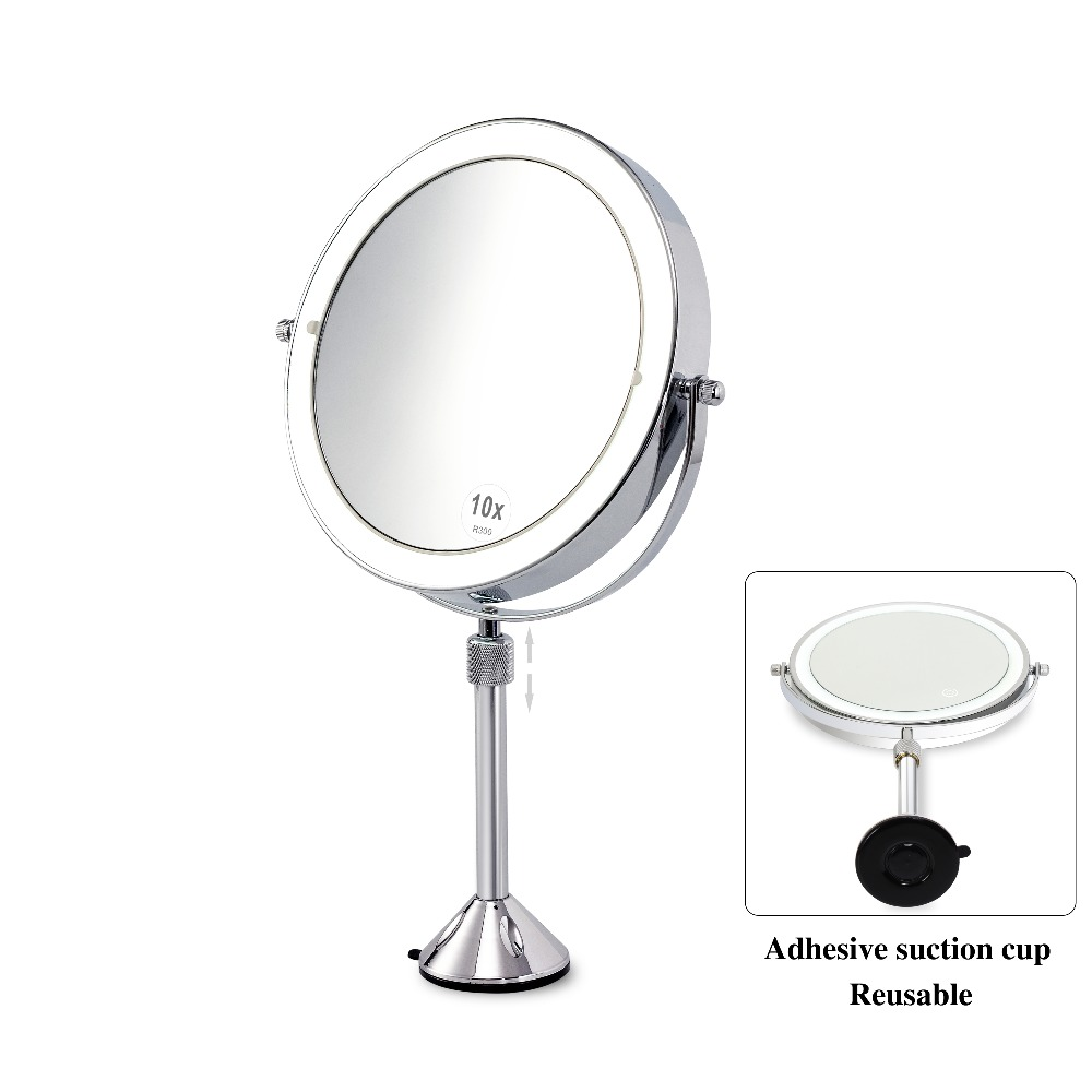 Touch screen LED Lighted Double 8 Inch 2 Sided 3X 5X10X magnifying Makeup Vanity Mirror Suction Cups Make MirrorTouch screen LED Lighted Double 8 Inch 2 Sided 3X 5X10X magnifying Makeup Vanity Mirror Suction Cups Make Mirror