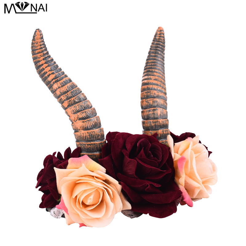 Image 2 - Gothic Animal Devil Horn Headband Kids Adults Cosplay Headwear Halloween Party Hair Accessories Rose Floral Crown Headpiece-in Boys Costume Accessories from Novelty & Special Use