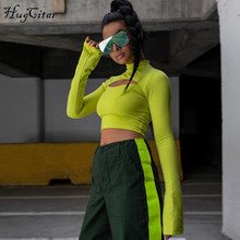 Hugcitar long flare sleeve hollow out split sext bodycon high neck crop tops 2018 autumn winter women fashion solid T-shirt