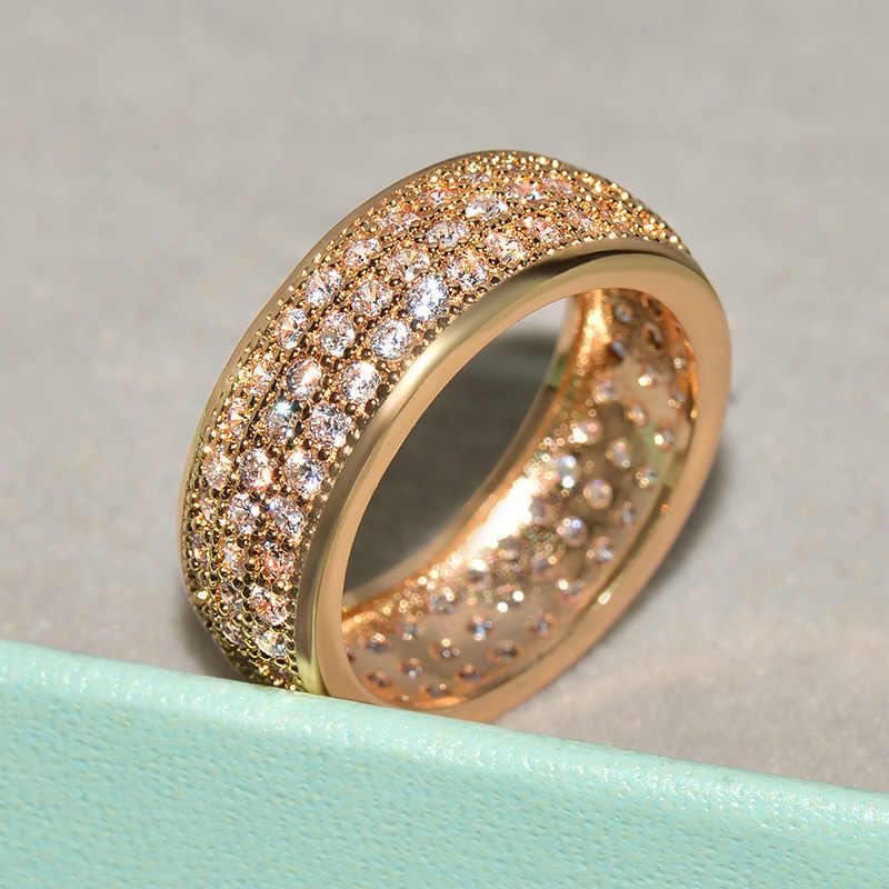 בלינג זהב גדול בלינג CZ אבן טבעות לגבר היפ הופ תכשיטי אופנה חתונת אירוסין טבעת מתנה הטובה ביותר 2019