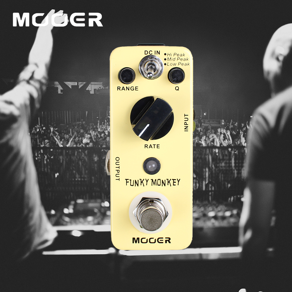 Mooer Mini Funky Monkey Guitar Effect Pedal Wide Adjustable Range Auto Wah Effects mooer ensemble queen bass chorus effect pedal mini guitar effects true bypass with free connector and footswitch topper