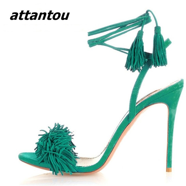 1dbf517e7 Sexy de Salto Stiletto Rendas Até Sapatos De Salto Alto Moda Feminina  Sandálias Gladiador Franja de