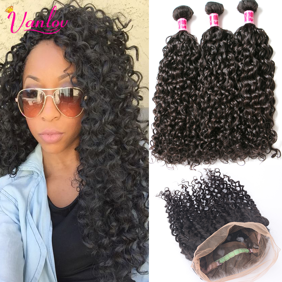 360 Frontal With Bundles Malaysian Water Wave Virgin Hair With Closure Water Curly Weave With 360 Lace Frontal Ocean Wave Hair