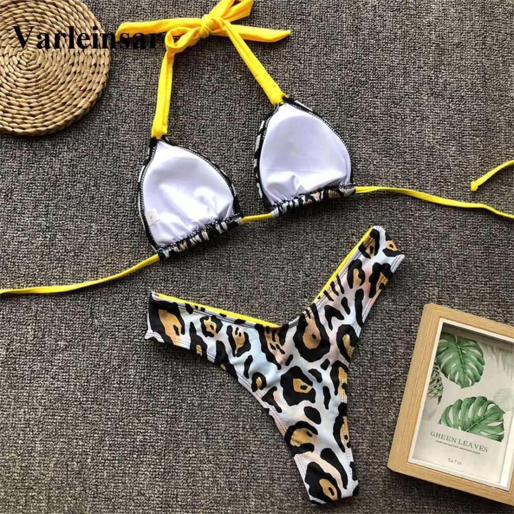 Цветочные стринги бикини женский купальник 2019 женский купальник из двух частей бикини набор Холтер Мягкий купальный костюм V1199