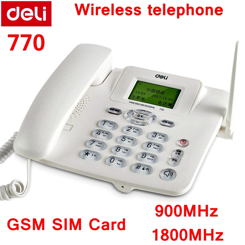 Deli 770 GSM SIM Card 900MHz & 1800MHz cordless telephone wireless telephone rechargeable Lithium battery message function