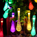 Solar Outdoor String Light 20LED 30LED Water Drop String Fairy Waterproof Lights for Garden Patio Yard Home Christmas Tree Party