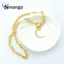 Pop Charms,Fashion Jewelry The Gold Plating Star and Moon Shape Cubic Zirconia Pendant Necklace, Necklace Women, 5Pieces