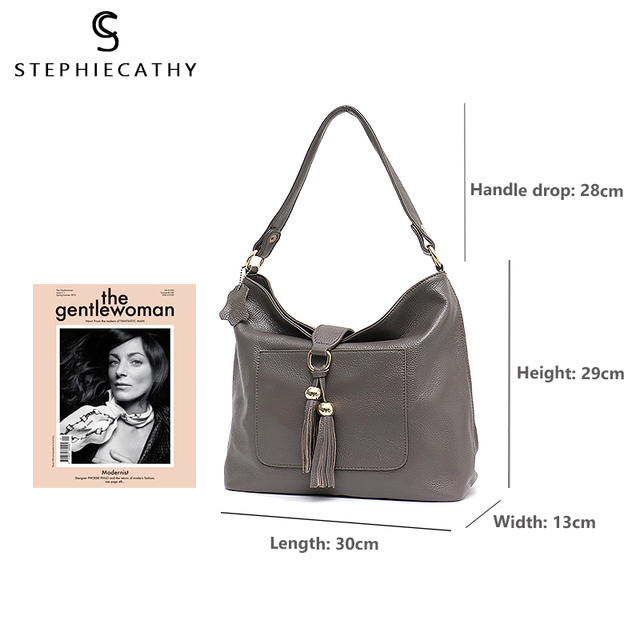 SC Fashion Large Genuine Leather Women Hobos Purses&Handbags Soft String Tassel Shoulder Bags Ladies Soft Daily Real Cowhide Bag
