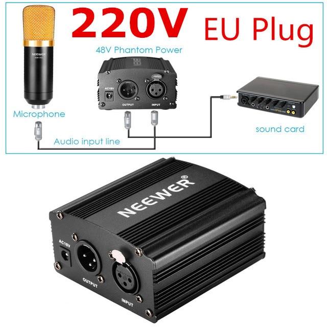 Neewer Enchufe europeo 220 V 1-canal 48 V fuente de alimentación Phantom + Adaptador + un Cable de Audio XLR para cualquier grabación de micrófono condensador