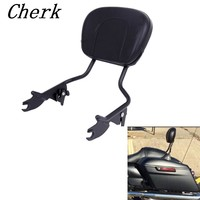 New Motorcycle Black Sissy Bar Upright Passenger Backrest W Pad For Harley Touring Street Glide Road