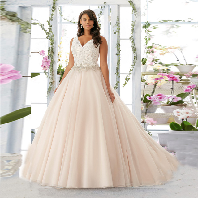 2016 Plus Size Ball Gown Ivory Wedding Dresses Plus Size V neck Lace ...
