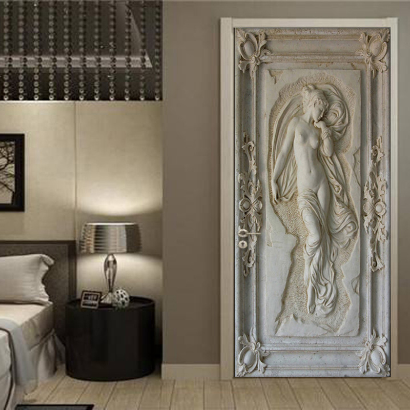 European Style Retro 3D Relief Portrait Photo Wallpaper Living Room Bedroom 2 Pieces Door Sticker PVC Waterproof Papel De Parede