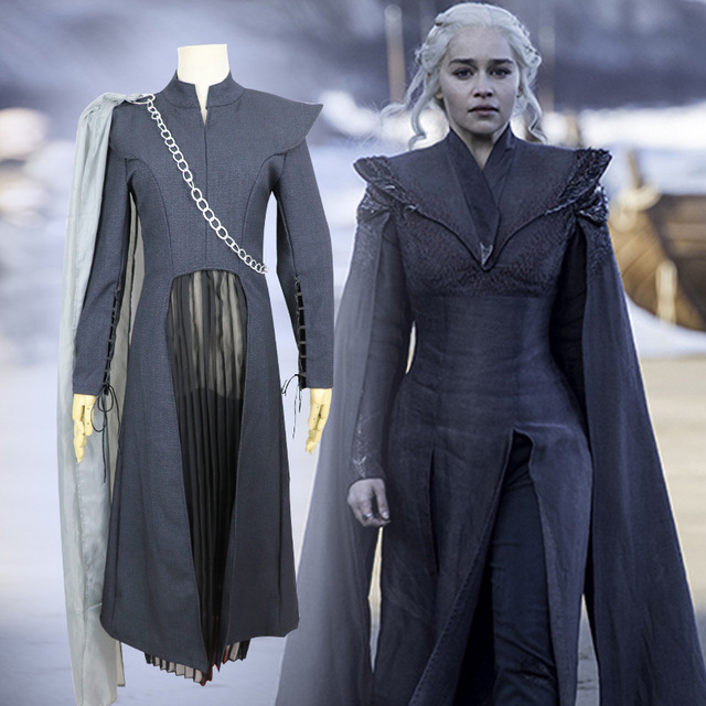 bee45393de8 US $41.38 8% OFF|Game of Thrones Season 7 Daenerys Targaryen cosplay  costume Adult Female Mother of Dragons Halloween Dress suit for party-in  Game ...