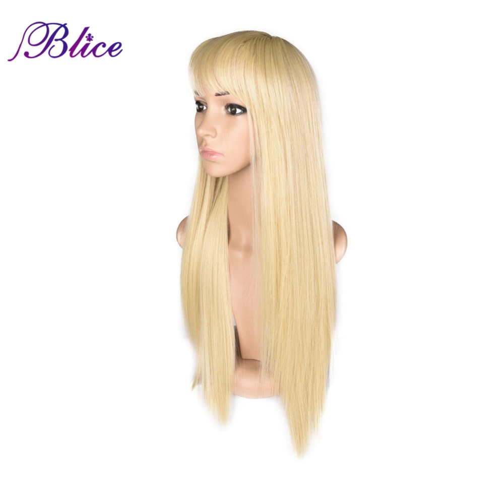 Blice Synthetic Blonde Wigs 120% Density Silky Straight #613 Synthetic Long Wig High Temperature Futura Fiber Wigs