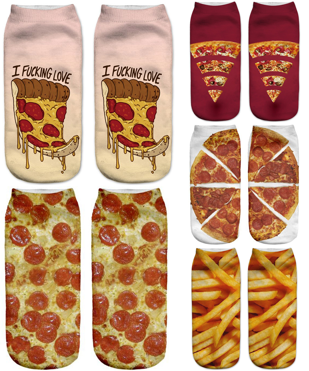 Women Short Casual 3D Printed Funny Spring Brand Socks Happy Hot Fashionable Summer Autumn Unisex Pizza Female Ankle Socks