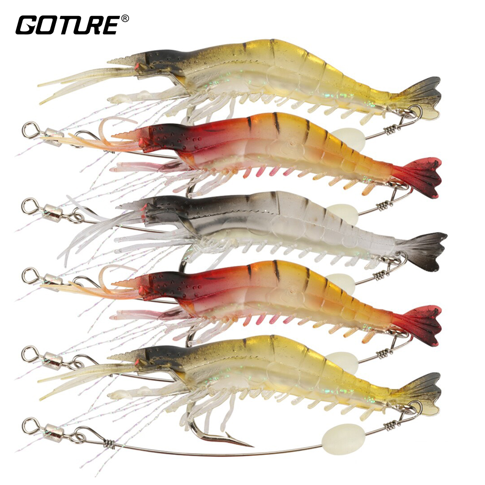 Goture Soft Fishing Lure Silicone Shrimp Bait with Luminous Bead Iscas Artificiais para pesca Fishing Tackle 9.5cm 5.7g 5pcs