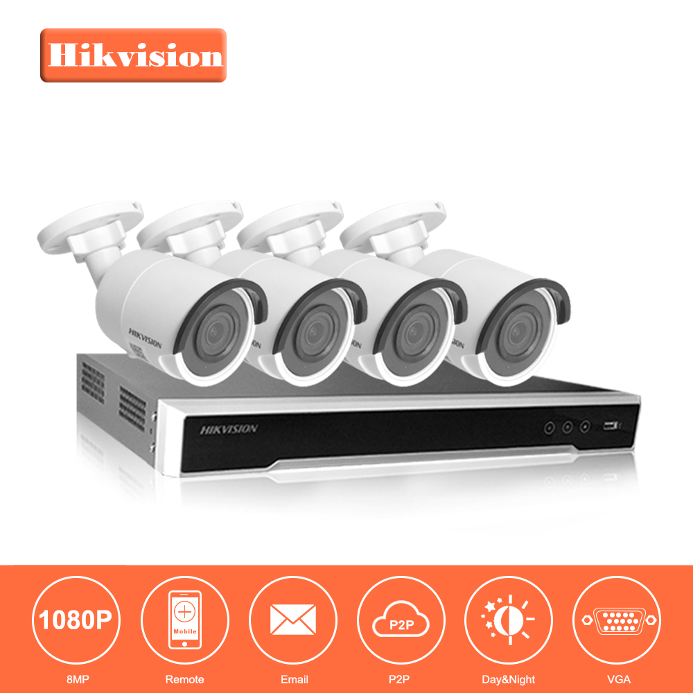 Hikvision 8CH HD Network POE NVR Kit CCTV Security System 4 Units 8MP Bullet Outdoor IP Camera IR Night Vision Surveillance Set hikvision cctv ip camera ds 2cd2t85fwd i5 i8 8mp real time video ir bullet camera network poe 80m ir range
