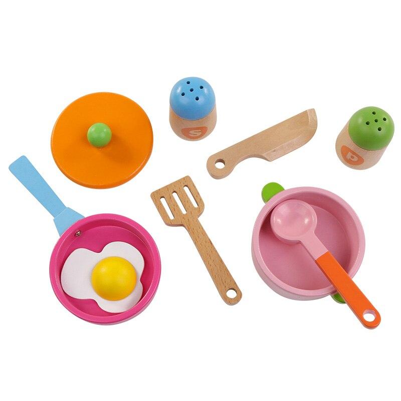 8 шт., деревянные кухонные игрушки, набор для детей, пищевые игрушки для фруктов и овощей, подарок для детей, игрушки для девочек - Цвет: 8 JIAN TAO